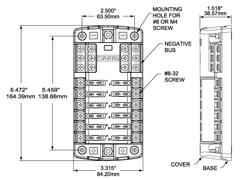 st blade fuse block 12 circuits with negative bus and cover blue rh bluesea com fuse block wiring diagram 1999 gmc truck fuse block wiring diagram on a 2003 ...