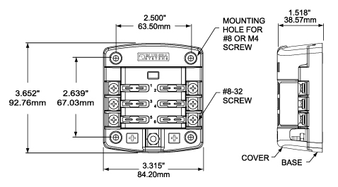 st blade fuse block 6 circuits cover blue sea systems dimensioned drawing