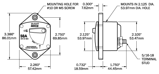 187-series circuit breaker - panel mount 100a
