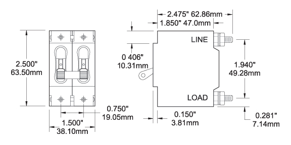 7251 7258 c series white toggle circuit breaker double pole 30 amp blue 2 pole breaker wiring diagram at bakdesigns.co