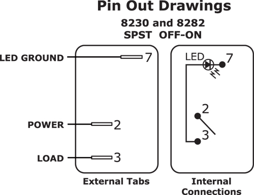 8230_8282 wiring single pole single throw (spst) rocker switch with light 3 pin rocker switch wiring diagram at crackthecode.co